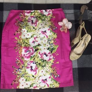 Sunny Leigh cotton pink floral spring/summer skirt